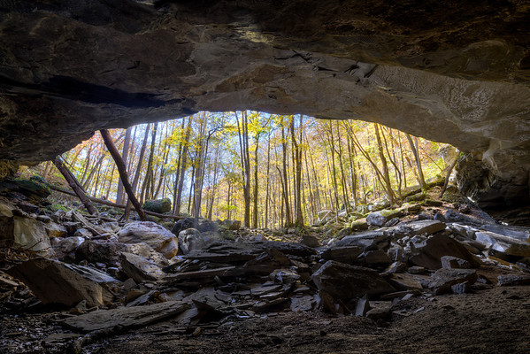 The cave at Big Laurel Falls